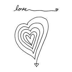 heart shape abstract line art hand drawn and love word.