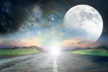 abstract scene with full moon and empty rural road