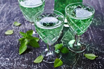 Transparent green drink