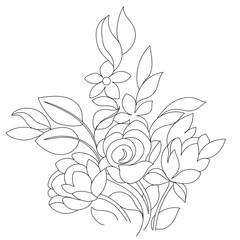 Monochrome bouquet of hand drawn flowers. Vector illustration.
