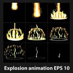 Explosion, cartoon  animation frames for game. Sprite sheet on dark background