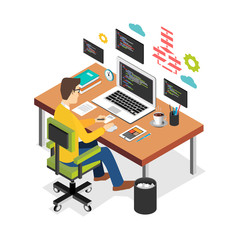 Professional programmer working writing code on laptop computer at desk. Programmer developer workplace. Flat 3d isometric technology concept.