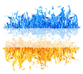 yellow and blue fire long strips on white
