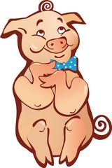 sitting happy cartoon pig simple