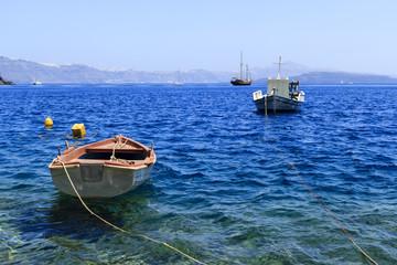 Greece boat santorini thirassia nea kameni volcano caldera