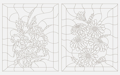 Set contour illustrations in the stained glass style, iris and chamomile , dark outline on a white background