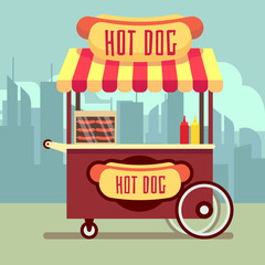 Street food vending cart with hot dogs vector illustration