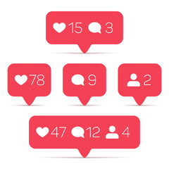 Wall Mural - Like, follower, comment vector icons set