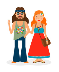 Hippie sixties girl and man of flower power. Vector illustration