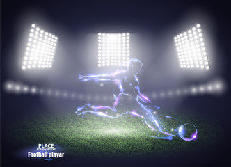 Stadium lights. Motion design. Football player, kick a ball. Vector illustration.