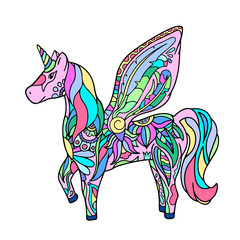 Colorful unicorn - hand-drawn vector illustration.