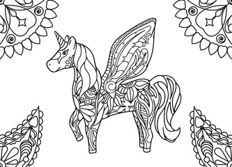 Unicorn with mandalas coloring page.