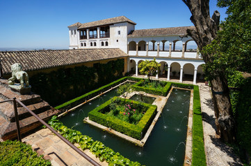 Generalife - Sultana's Courtyard in Granada, Spain