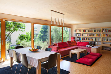 dining table and red divan