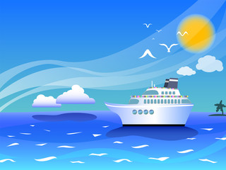 Sea landscape with cruise ship vector illustration for background with place for text