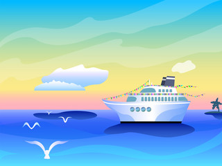 Vibrant banner template with cruise liner ship, white clouds and seagull over sea