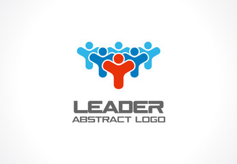 Abstract logo for business company. Corporate identity design element. Leader, head, subscribers, followers and fan Logotype idea. People group, Network, Social Media concept. Colorful Vector icon
