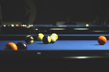 billiard balls or balls for the pool located on the billiard table after hitting
