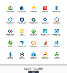 Abstract logo set for business company. Corporate identity design elements. Construction, industry, architecture concepts. Work, engineer, technology connect logotype collection. Colorful Vector icons