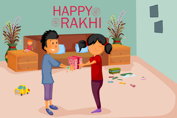 Brother and Sister tying Rakhi on Raksha Bandhan