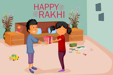 Brother and Sister tying Rakhi on Raksha Bandhan