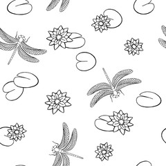 Lake dragonfly insect seamless pattern graphic art black white illustration vector