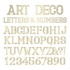 Golden outline font with flourishes. Shiny gold capital letters and numbers in art deco style. Isolated alphabet.