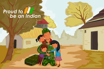 Indian soldier celebrating Happy Independence Day of India with kid