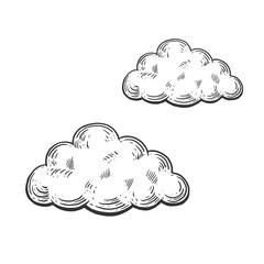 Cloud engraving style vector illustration