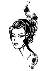woman among roses