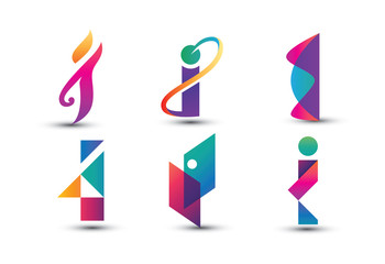 Abstract Colorful I Logo - Set of Letter I Logo