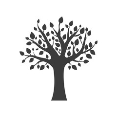 Tree icon. Tree Vector isolated on white background. Flat vector illustration in black. EPS 10