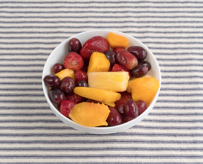 Mixed fruit in a bowl on a tablecloth.