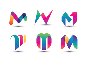Abstract Colorful M Logo - Set of Letter M Logo