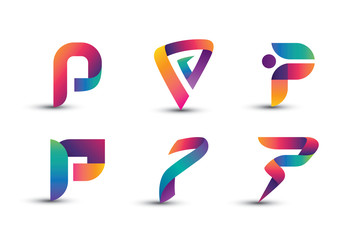 Abstract Colorful P Logo - Set of Letter P Logo