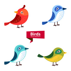 Cute birds in vector isolated on white background. Cartoon set