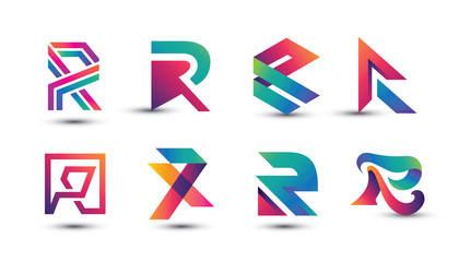 Abstract Colorful R Logo - Set of Letter R Logo