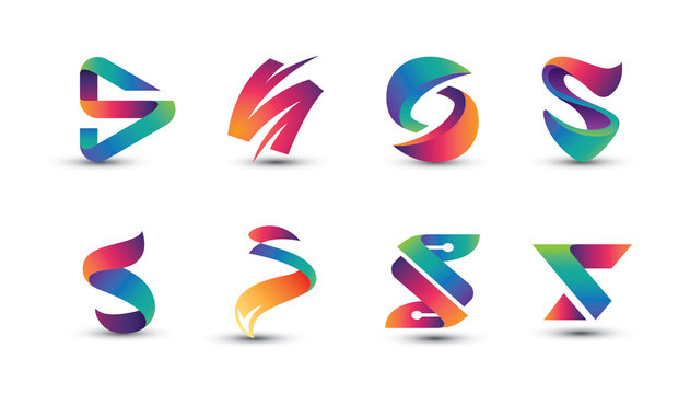 Abstract Colorful S Logo - Set of Letter S Logo