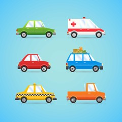Papiers peints Cartoon voitures Cars collection in cartoon style