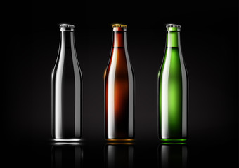 Transparent glass bottle, brown bottle and green bottle for design package and advertisement, beer and beverage ,Vector