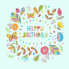 Happy birthday floral frame