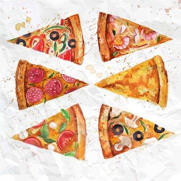 Watercolor pizza slices