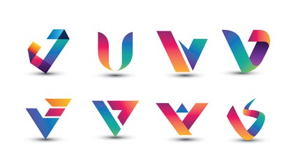 Abstract Colorful V Logo - Set of Letter V Logo