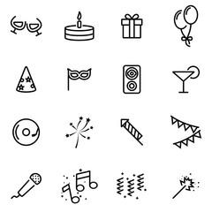 Vector line birthday icon set