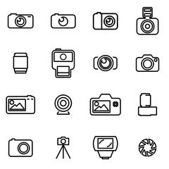 Vector line photo icon set
