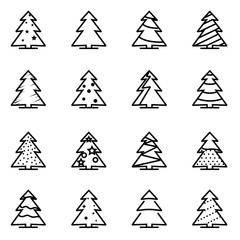 Vector line christmas tree icon set