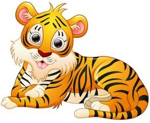 Cute tiger cartoon lay down