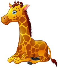 Happy giraffe cartoon sitting