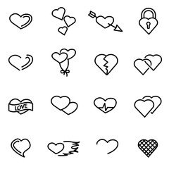 Vector line heart icon set
