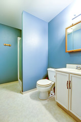 Blue interior of old style bathroom with linoleum flooring